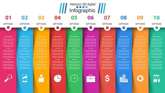 ビジネスインフォグラフィックテンプレート。 10アイテム
