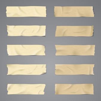 リアルな10セットベクトル粘着テープイラスト
