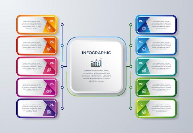 10のプロセス選択またはステップを持つ創造的なインフォグラフィックデザイン。