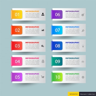 10のステップのインフォグラフィックバナー