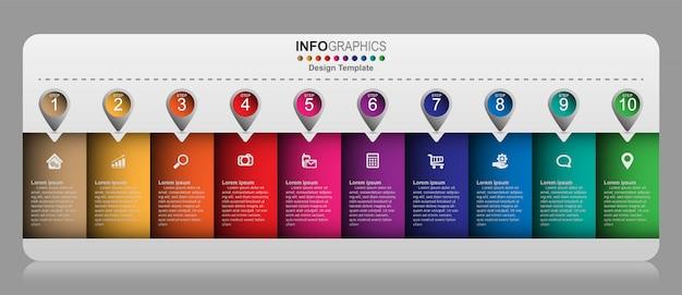 創造的なインフォグラフィックデザインテンプレート、10のオプション、ステップまたはプロセスのビジネスコンセプト。