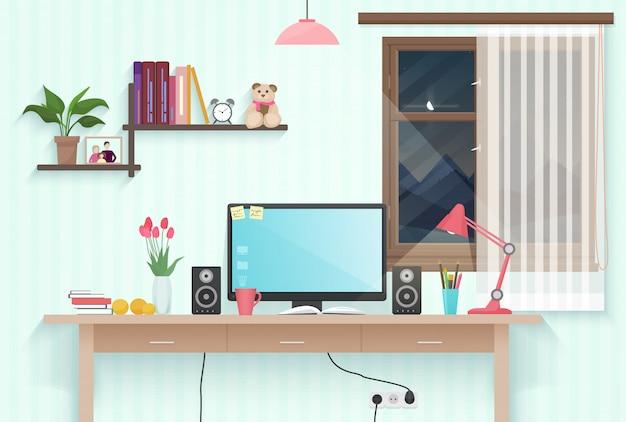 10代の女の子の部屋の職場