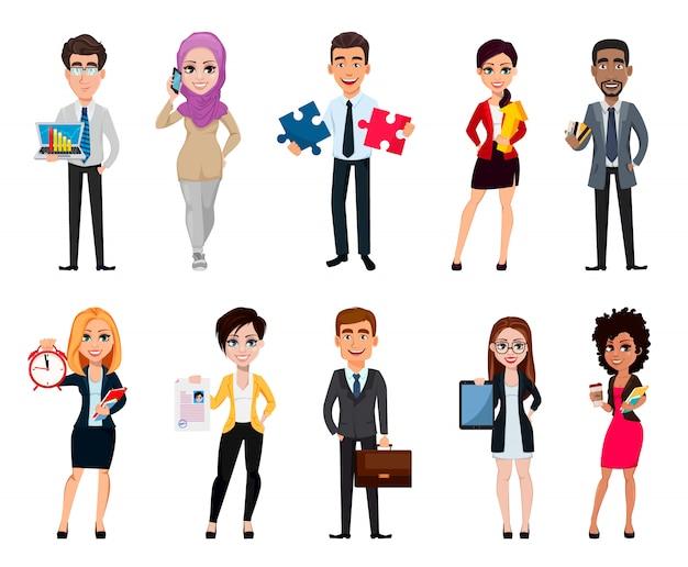 ビジネスの人々、10の漫画のキャラクターのセット