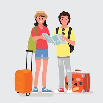 10代の旅行者の幸せなグループ