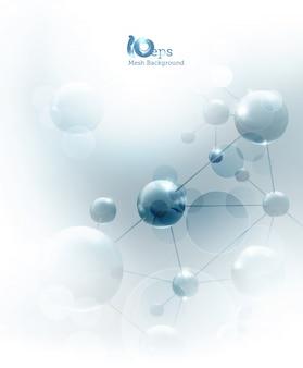Футуристический фон с голубыми молекулами, 10eps