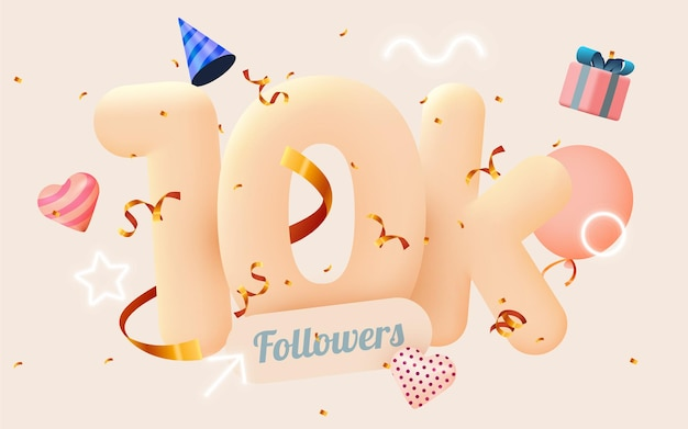 10k or 10000 followers thank you pink heart, golden confetti and neon signs.