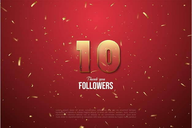 10k follower background with golden brown striped figure illustration edged