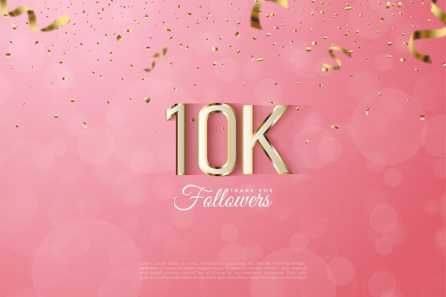 10k followers background with luxurious gold edged numbers.
