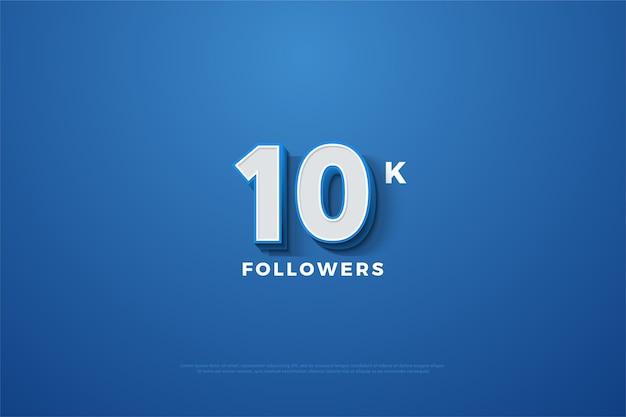 3d 번호가있는 10k 팔로워 또는 구독자는 파란색 배경에 눈에 띕니다.