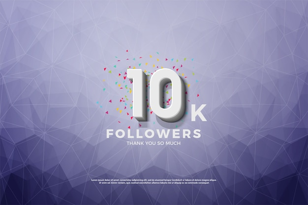 10k followers or subscribers with a 3d number on a crystal background.