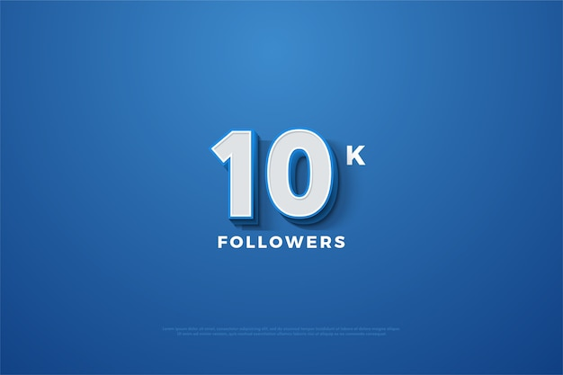 10k followers or subscribers with a 3d number stand out on a blue background.