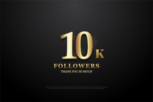 10k followers or subscribers with elegant soft gold numbers.
