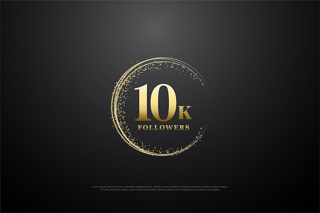 10k followers or subscribers with gold numbers and gold glitter.