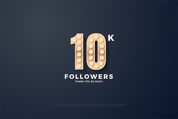 10k followers or subscribers with lights over numbers illustration.