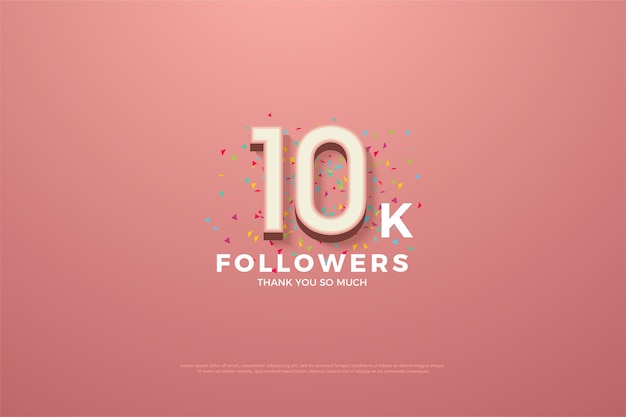 10k followers or subscribers with a prominent pink 3d number.