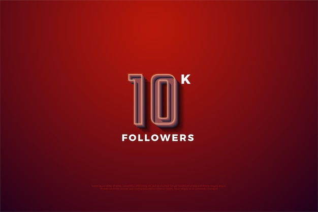 10k followers or subscribers with a raised number line.