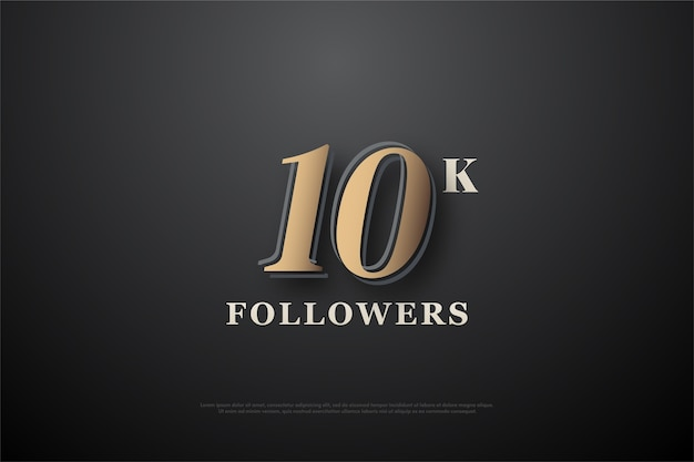 10k followers or subscribers with a soft gold number.