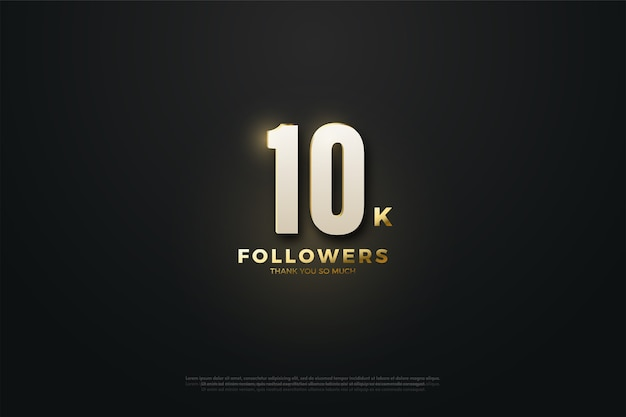 10k followers or subscribers with white numbers and gold writing.