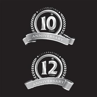 10-я 12-я годовщина празднования классического векторного дизайна логотипа премиум