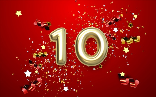 10th anniversary celebration. golden number with sparkling confetti, stars, glitters and streamer ribbons.  festive illustration. realistic 3d