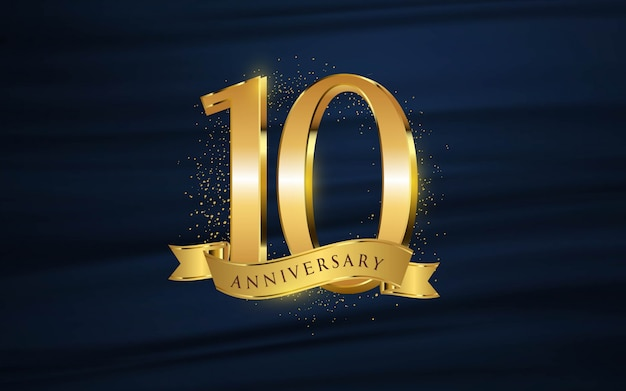 10th anniversary with illustrations 3d figures gold wallpaper / background