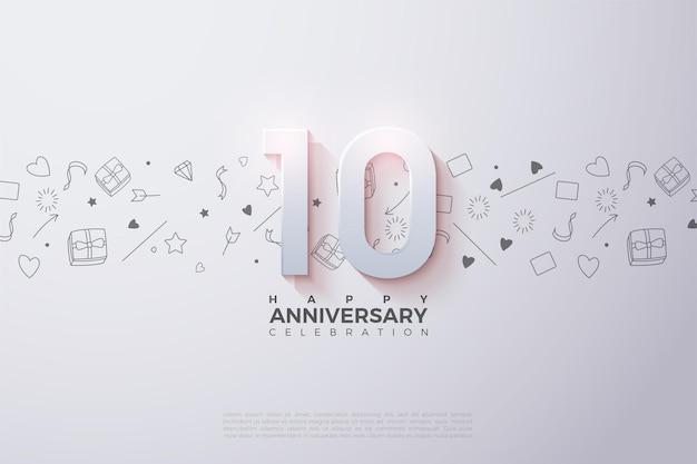 10-я годовщина с числами и фоном с подарками, любовью и маленькими звездочками