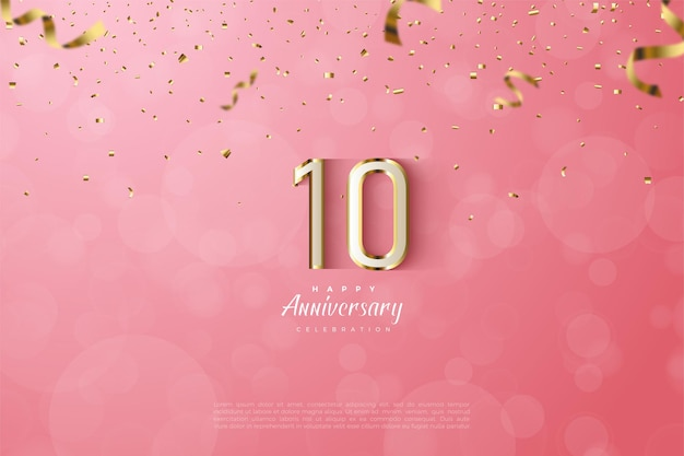 10th anniversary with white numbers on a gold stripe on a pink background