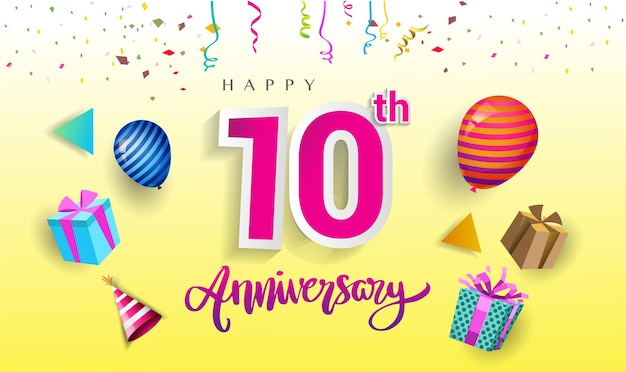 10th years anniversary celebration design with gift box and balloons