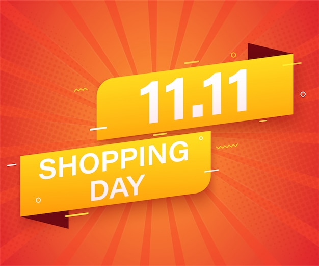 11.11 рекламный баннер для продажи шаблона. глобальный торговый день продаж плакат.