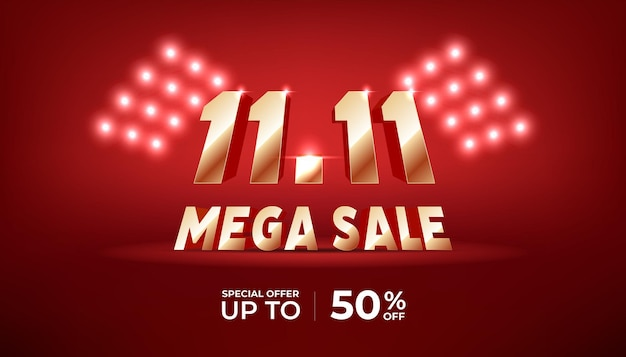11.11 mega sale banner template. golden numbers 11.11 on red background.