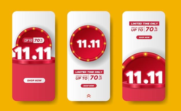 11.11 распродажа предлагает баннерную скидку для продвижения в социальных сетях с трехмерным текстом и отображением продукта на подиуме и круглым украшением