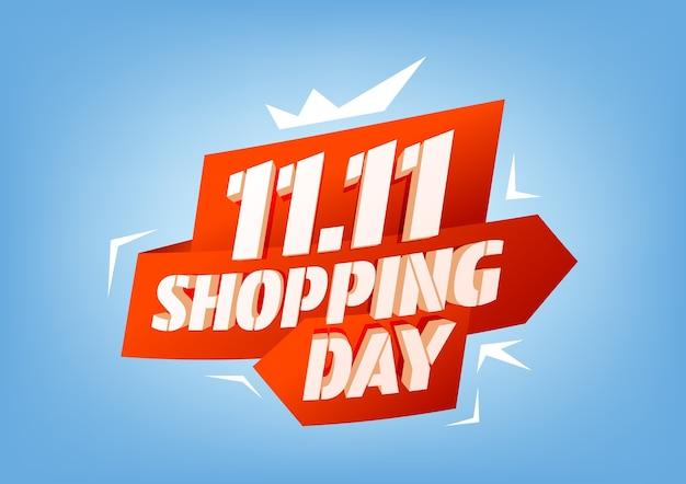 11.11 쇼핑 일 판매 포스터 또는 전단지 디자인. 글로벌 쇼핑 세계의 날 세일.