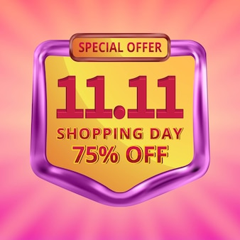 11 11 shopping day sale promotion social media template with editable text in sunburst background