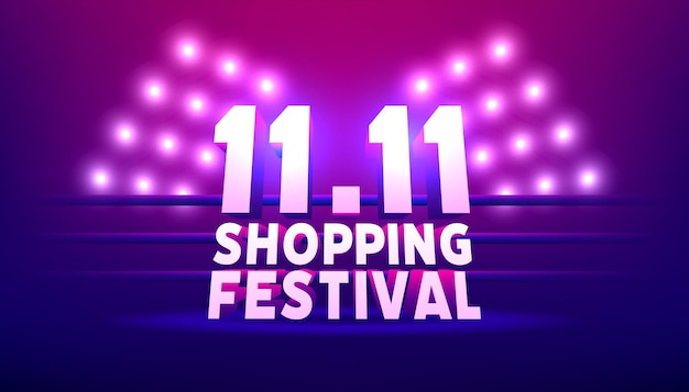 11.11 shopping festival banner template. world shopping day sale 11.11 discount vector banner.