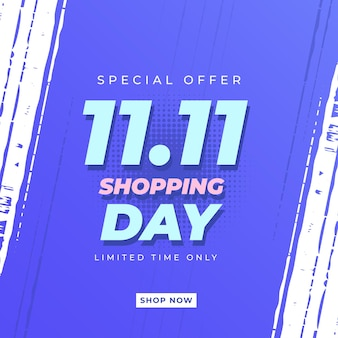 1111シングルショッピングデーバナーテンプレートオンラインショッピングのお祝い