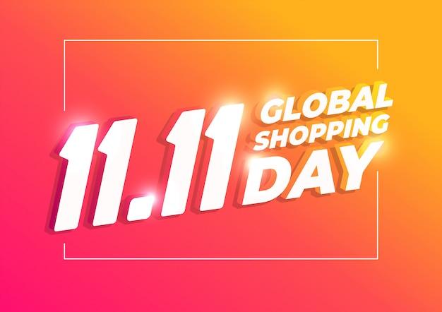 11.11ショッピングの日のバナー、グローバルショッピングの世界の日。