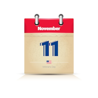11 november calendar page isolated on white background veterans day holiday