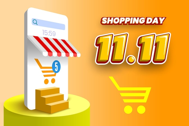 スマートフォンの表彰台と階段のベクトル図1111オンラインショッピング日セールバナー
