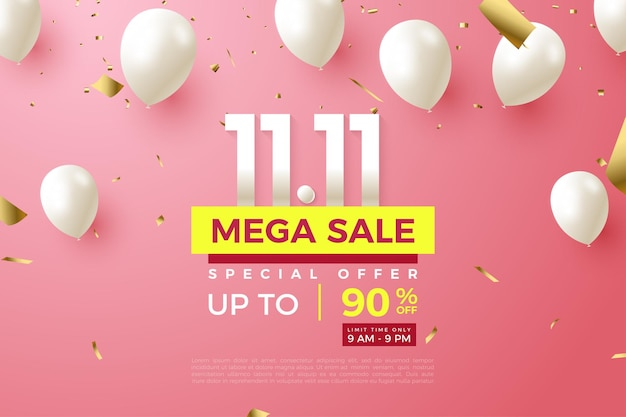1111 sale with numbers and white balloons