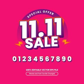 1111 싱글 데이 플래시 판매 쇼핑 편집 가능한 텍스트 효과 배너 3d 템플릿
