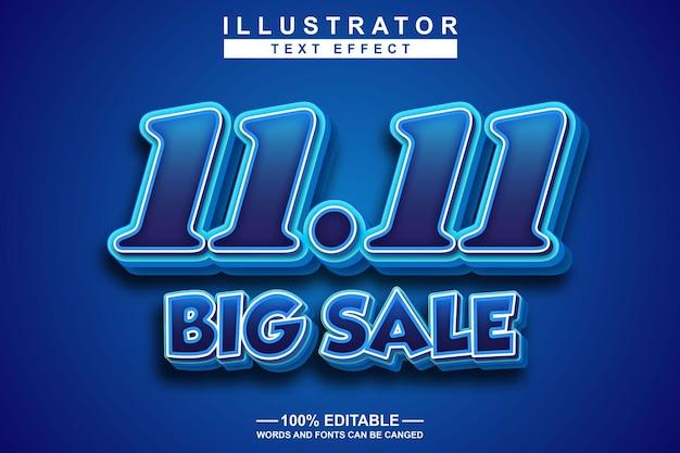 11111 большая распродажа 3d текстовый эффект редактируемый
