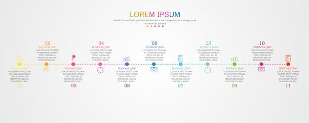 11のオプションを備えた、教育で使用される教育およびビジネスの概略図