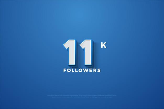 11k подписчиков с трехмерными числами на синем фоне
