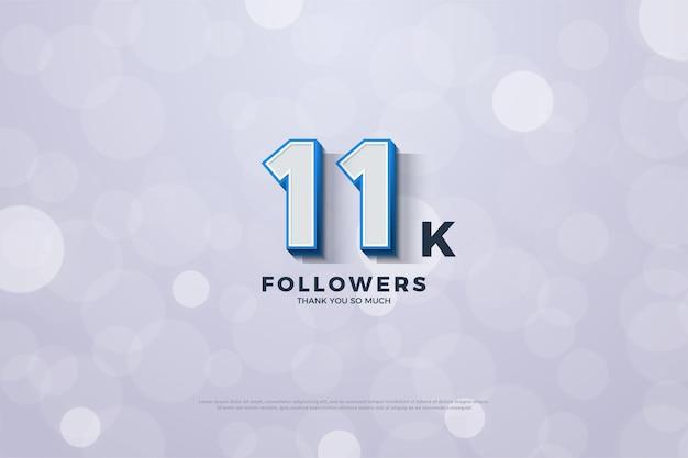 11k подписчиков с трехмерными числами и сплошной синей рамкой