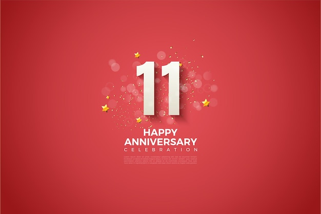11th anniversary with 3d numbers embossed on a red background.