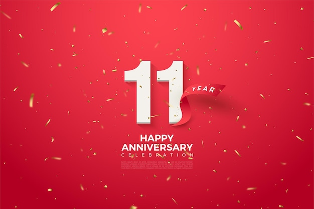 11th anniversary with a curved red ribbon