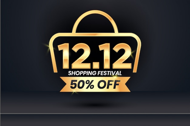 12.12 sale banner template in black and gold