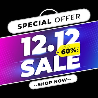 12.12 shopping day sale banner with black gold colour