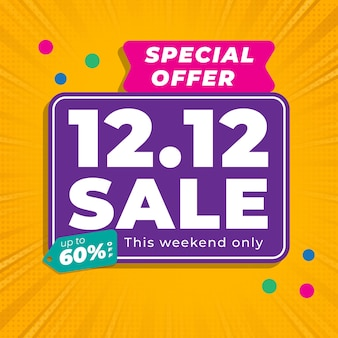 12.12 shopping day sale banner with yellow colour