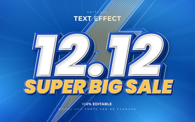 12 12 super big sale editable text effects